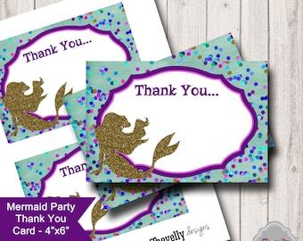 Mermaid Printable 4x6 Flat Thank You Card - TY006