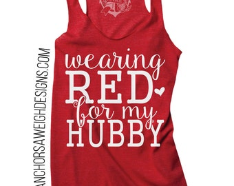 Wearing RED for my Hubby Tri-blend Racerback