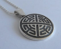 Sterling Silver Celtic Shield Knot Pendant, Made in Montana Fine Jewelry Gift, Men's Women's Unisex Necklace, Protection Medallion