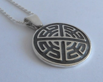 Sterling Silver Celtic Shield Knot Pendant Made in Montana Fine Jewelry Gift Gender Neutral Gift Protection Symbol Medallion