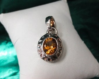 STERLING Silver Pendant with Citrine Stone