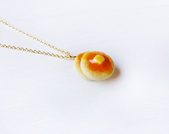 Elfi Handmade Cute Pancake Necklace, Dessert Food Jewelry, Pancake Charm, Inedible Food, Miniature Food Jewelry, Perfect for Christmas gifts