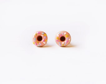 Elfi Handmade Cute Pink Sprinkle Doughnut Stud Earrings, Dessert Food Jewelry, Donut Earrings, Donut Charm, Inedible Food, Christmas gifts