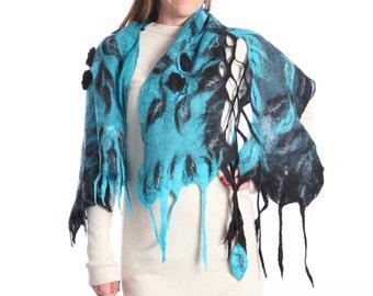 Ocean blue warm felted wrap for women
