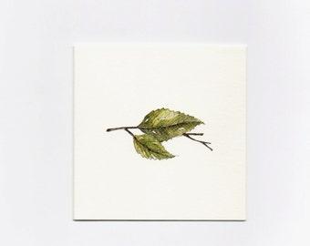 Green Leaf- Mini Greeting Card