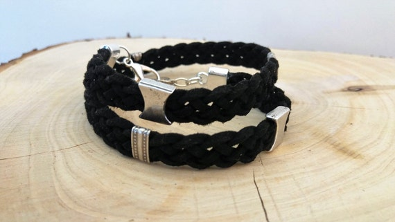 Mens Wrap Bracelet, Men Leather Bracelet, Leather Wrap Wristband, Chunky Wrap Bracelet, Leather Metal Wristband, Adjustable Wrap Bracelet