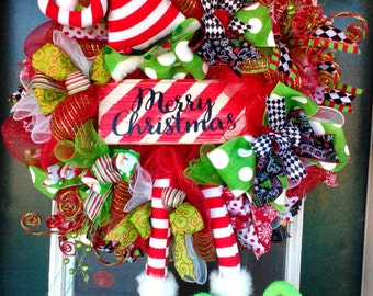 Christmas Wreath, Elf Wreath, Holiday Wreaths, Christmas Mesh Wreath, Elf Decor, Deco Mesh Christmas Wreath, Merry Christmas Wreath