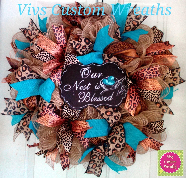 Our Nest Is Blessed Door Wreath Burlap Leopard Wreath