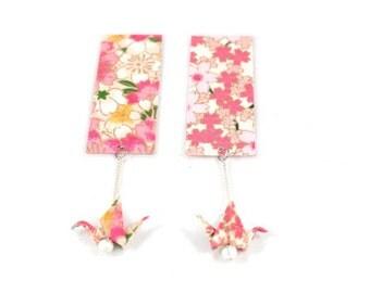Bookmarks origami - cranes - Japanese paper Origami