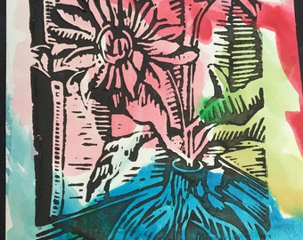 "Little Flowers in Vase with Curtain (7"" x 4"" original hand-pulled linocut print)"