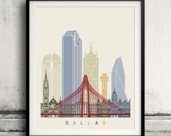Dallas skyline poster - Fine Art Print Landmarks skyline Poster Gift Illustration Artistic Colorful Landmarks - SKU 1971