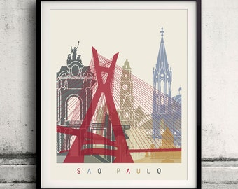 Sao Paulo skyline poster 8x10 in. to 12x16 in. Fine Art Print Glicee Poster Gift Illustration Artistic Colorful Landmarks - SKU 1133