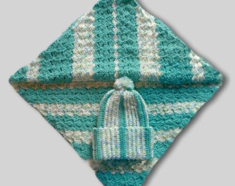 Striped Newborn Blanket With Matching Hat, Nap Blanket, Baby Shower Gift, Security Blankie, Sea Green Baby Blanket, Warm Striped Lap Blanket