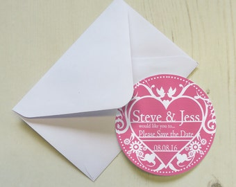 Set of 12+ Personalised Save the Date Magnets with Envelopes - Decorative Heart
