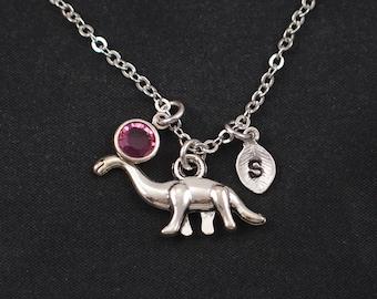dinosaur necklace, initial necklace, birthstone necklace, silver brontosaurus charm, apatosaurus necklace, paleontology, longneck dinosaur