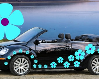 20,blue & purple pansy flowers car decals,stickers in three sizes