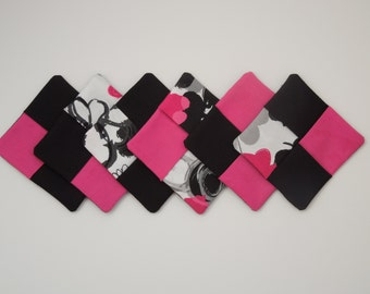 Funky Pink and Black Fabric Coasters – Set of six