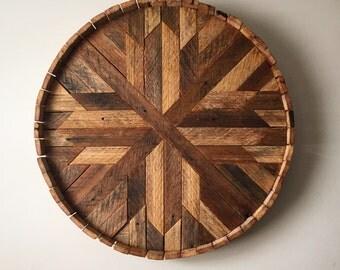 Wood Wall Art, Round Art, Reclaimed Art, Salvaged Art, Lath Wood Wall Art