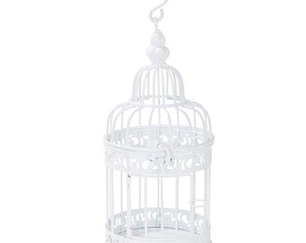 White Birdcage | Centerpiece | White Wedding Decorations | Wedding Table Decorations | Candle Holders | Wedding Table