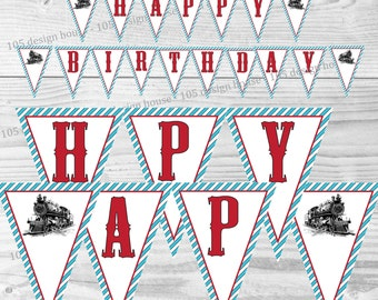 "Thomas The Train Party Banner INSTANT DOWNLOAD- Printable Thomas The Train ""Happy Birthday"" Banner - Thomas and Friends"