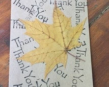Rustic thank you card, collage with stampings and  a maple leaf,  old-fashioned card, handmade card, fall thank you, vintage thank you card
