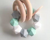 Natural Wooden Teether Feltman Co Teething Toy Icosahedron Teething Beads Silicone Teether Mint Grey White Teether Wood Ring Teething Rattle