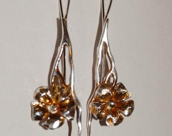 Vintage Silver Custom Flower Earrings.