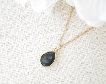 Black and gold teardrop necklace, Swarovski pendant bridal necklace, Simple crystal wedding necklace