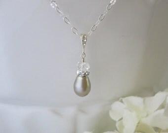 Swarovski teardrop pendant necklace, Simple platinum pearl drop necklace, Platinum pearl wedding necklace