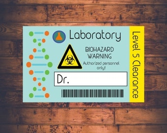 Science Lab Name Badge - Printable and Customizable Scientist Lab Name Tag - Science Birthday Party
