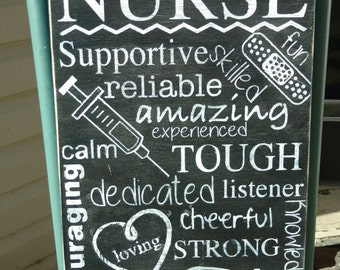 Nurse sign personalized  - subway art- Wooden Sign - Hand Painted - Home Decor - gift for nurse - home decor