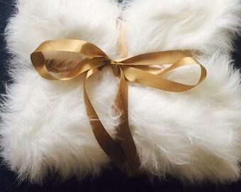 White fluffy throw