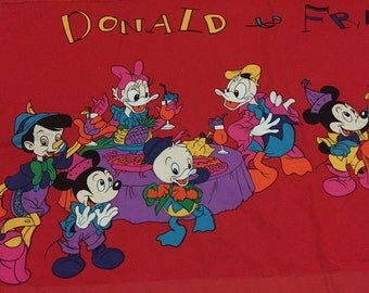 Vintage curtain Disney Fabric Donald Mickey Minnie Mouse and friends
