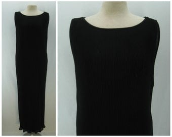 Vintage 90s Vivienne Tam dress, 1990s pleated dress, minimalist black dress