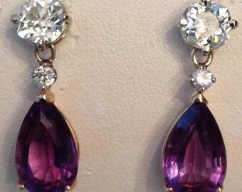Antique vintage pair of 14k two tone Old Mine Diamond & Pear Shaped Amethyst Drop Dangle Earrings, 10.20 tw