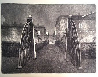 Pochtamtskiy Bridge. Evening. An Original Etching with Aquatint Print