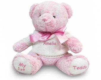 Personalized My 1st Teddy Bear - Pink, 12 Inch