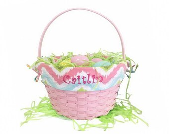 Personalized Pink Chevron Pattern Easter Basket