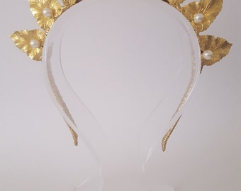 Gold Leaf Crown,Fascinator,Tiara, Headpiece
