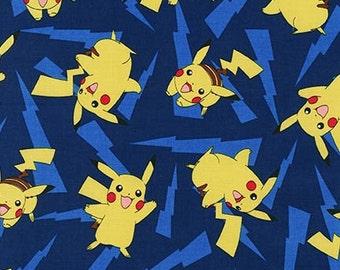 Pokemon Fabric, Pikachu on Blue Kaufman fabric, 16213-4 Blue / 1 Yard Cuts 1/2 Yard Cuts / Robert Kaufman