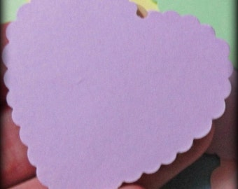 Handmade Cardstock, scalloped hearts, die cut shape, wedding tips and advice messages, wedding hearts, love notes