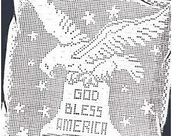 Filet Crochet God Bless America Eagle Panel & Pillow Laura Wheeler Pattern PDF Instant Download