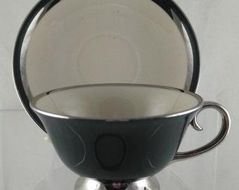 Flintridge China Contessa Black Cups and Saucers
