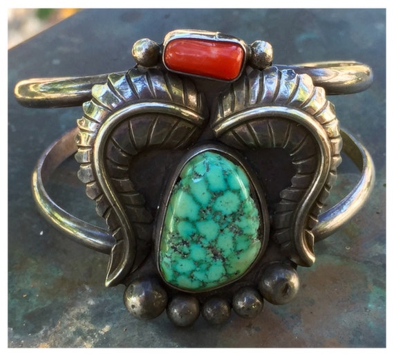 Vintage navajo sterling silver turquoise cuff by sugardrawers for Jimmy s fine jewelry