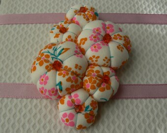Textile jewelry Fabric brooch Textile flower Petit pan brooch orange and pink Brooch handmade in Paris France