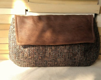 Handcrafted Repurposed Fabric Wool & Leather Clutch