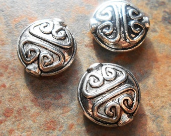 6 -  Antiqued Silver 15x6mm Puffed Coin Beads, Tribal, Ethnic, Bali, Hill Tribes, Monkeyshine Beads