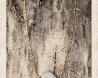 Necklace: Aqua Marine Stone on Gold Fill Chain