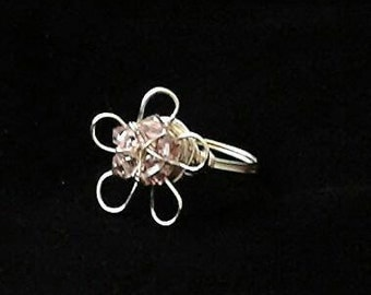 Flower Ring, Wire Flower Ring, Wire Wrapped Ring, Crystal Flower Ring