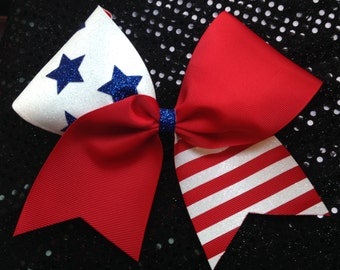 "Cheer Red, white and Blue 3""  Cheer/Softball bow"